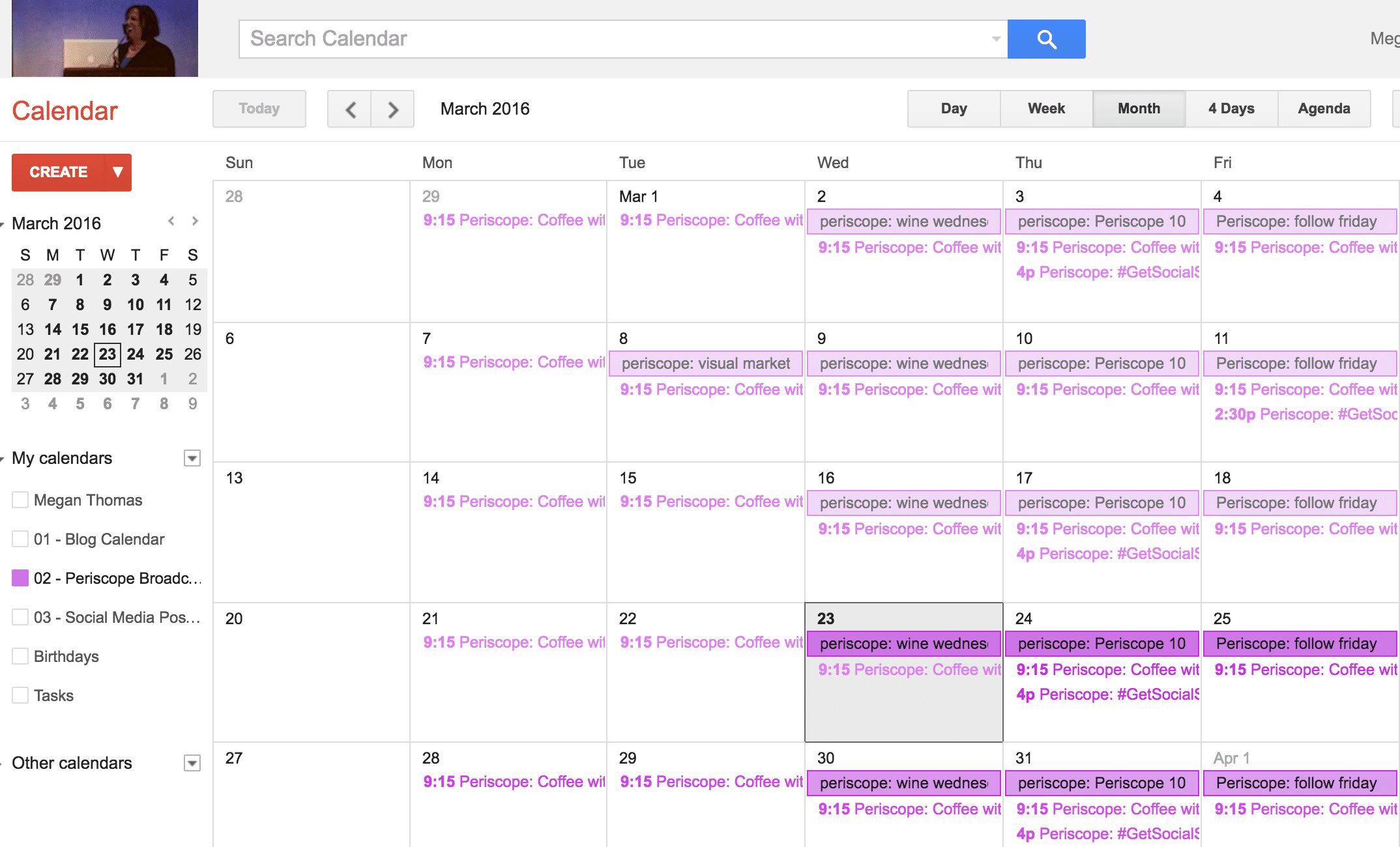 Use a Google Calendar to schedule your live video broadcasts.