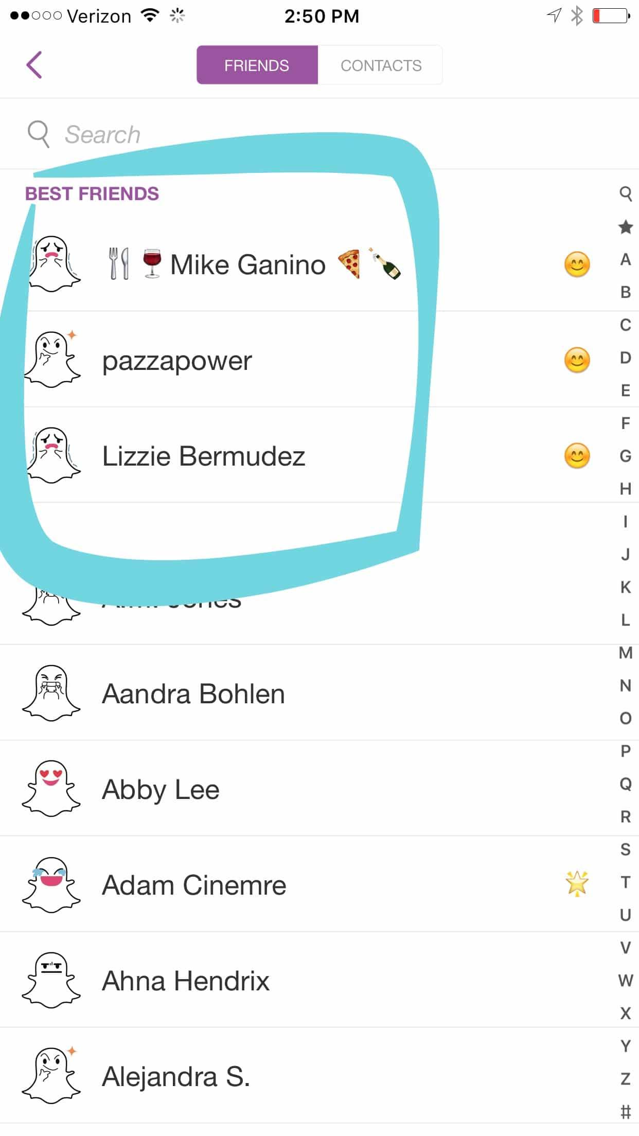 Your Best Friends in Snapchat are the people you interact with most often.