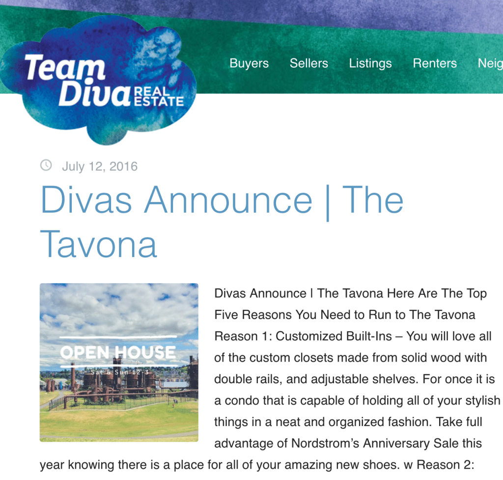 The Team Diva blog is a great example of creating great content that is relevant to their audience to build their business!