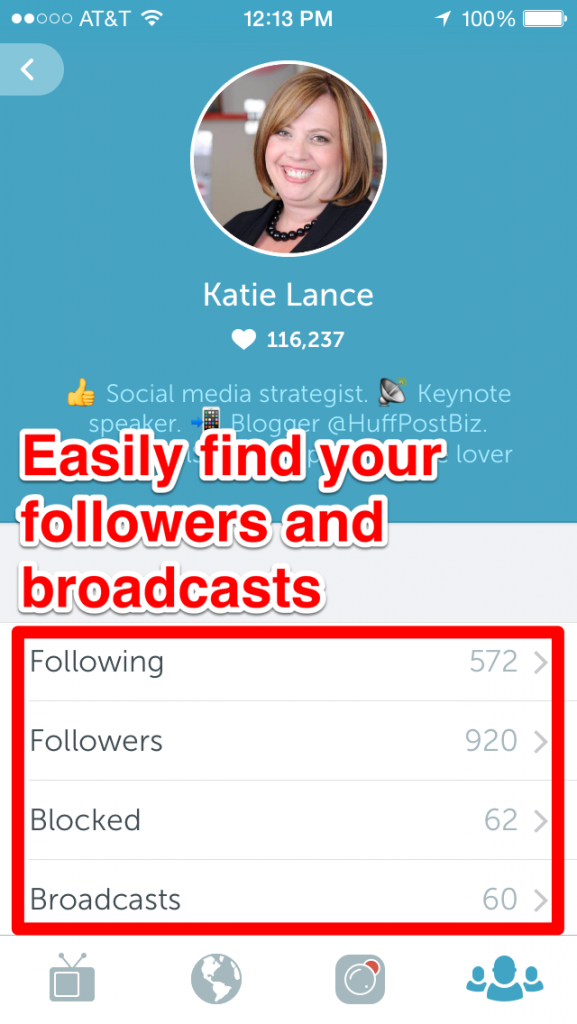 Easily find your followers and broadcasters!