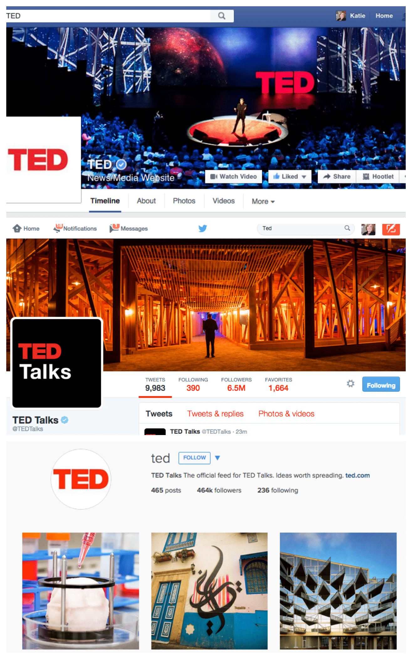 Ted keeps names and verbiage consistent across social platforms - a great example of brand cohesiveness.