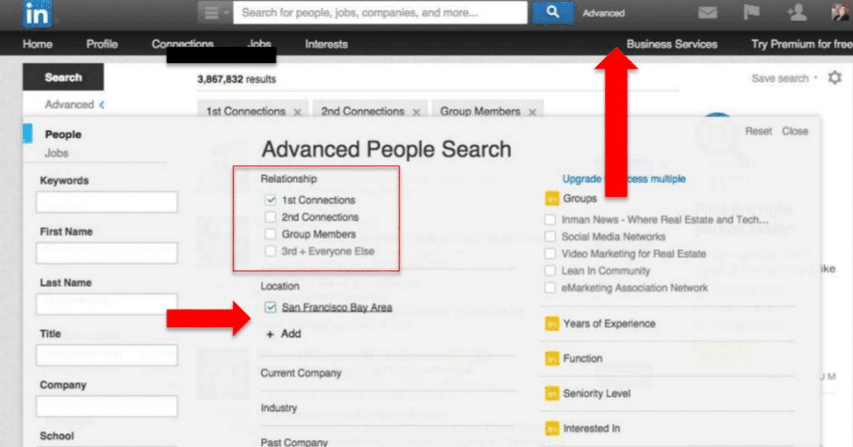 Use the advanced search function on LinkedIn for prospecting.