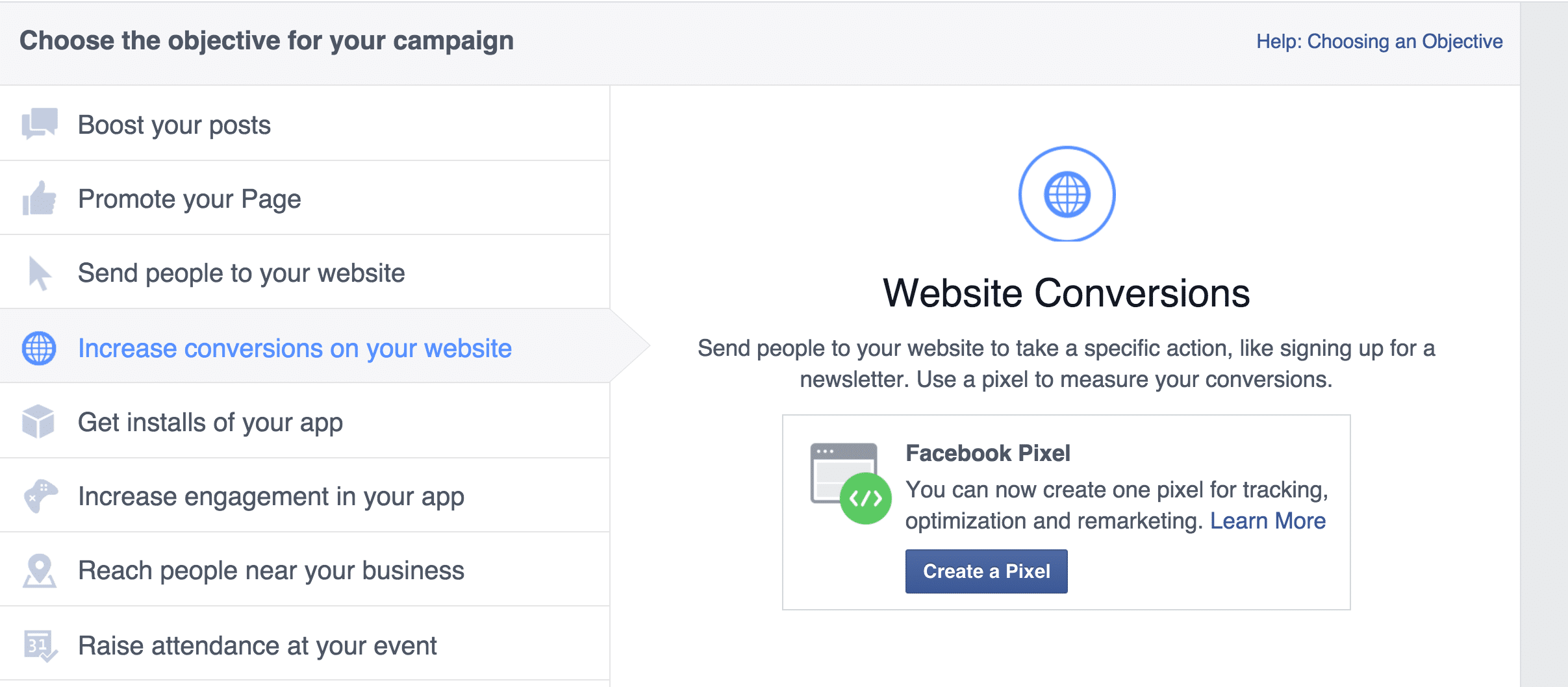 Create a conversion pixel at Facebook.com/ads