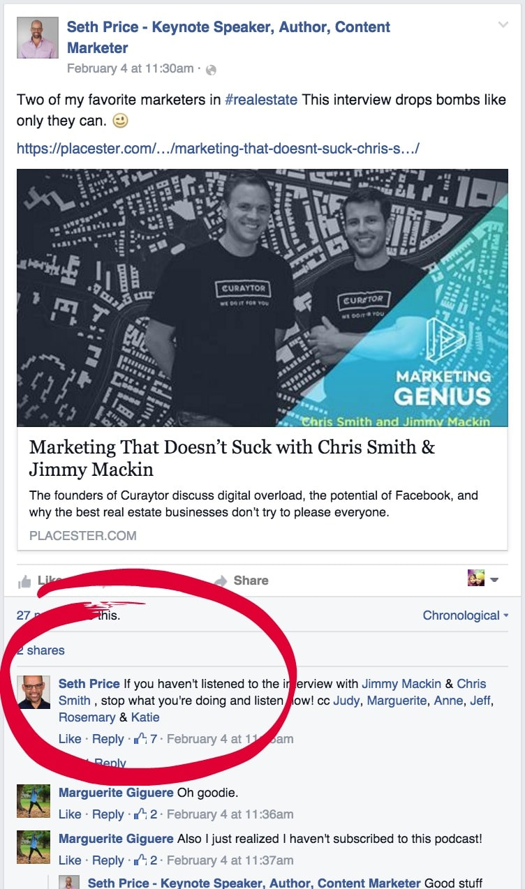 Comment on your Facebook business page posts using your personal profile and tag specific people.