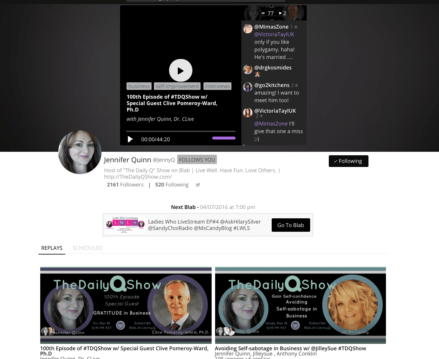 Be sure to check out Jenny Q on Blab!