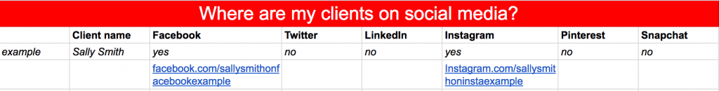 An example of how you may list your clients and the social platforms they are on.