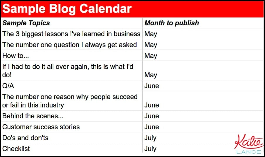 Sample blogging calendar example
