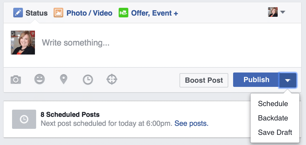 I like to schedule content on my Facebook Business Page 3-5 days in advance.